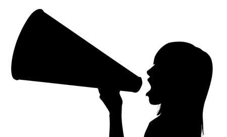 hombre megafono: Mujer con meg�fono