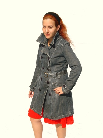 denim skirt: Lady Wearing Coat Stock Photo
