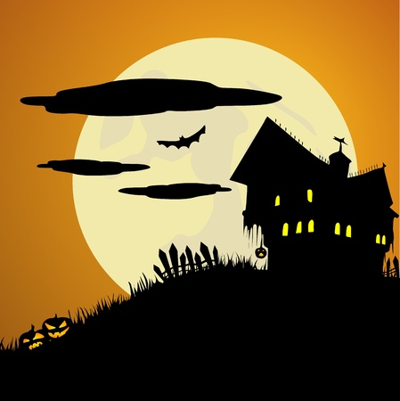 Spooky Halloween House Illustration
