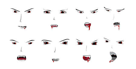 Vampire Faces Collection Illustration