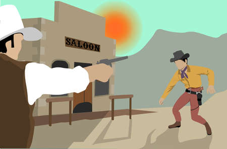 Western Duel At Noon Vector