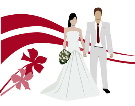 happy couple: Married Couple Illustration