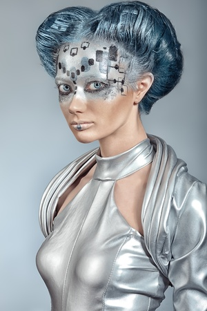 body painting: Portrait of a futuristic young woman.
