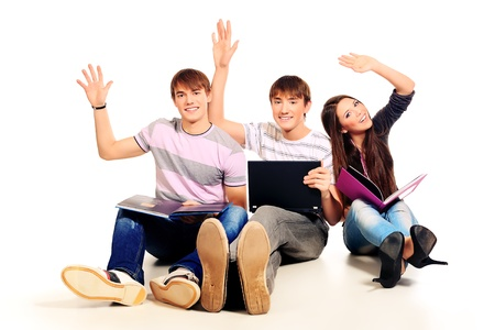 Group of cheerful young people  Isolated over white background   photo