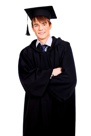 Portrait of a happy graduating student  Isolated over white background   photo