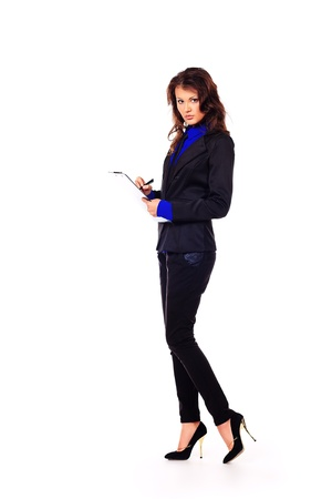 executive affable: Full length portrait of a business woman. Isolated over white.