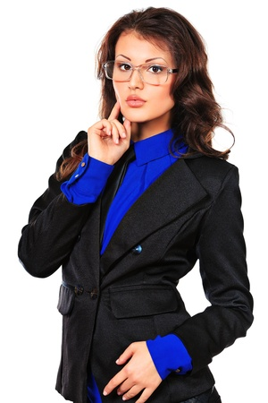 executive affable: Portrait of a business woman. Isolated over white. Stock Photo
