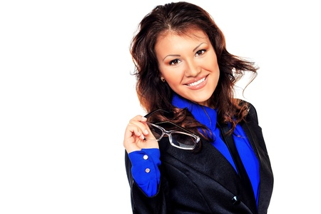 executive affable: Portrait of a smiling business woman. Isolated over white.