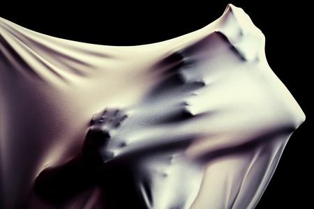 breaking through: Foto del arte de una silueta femenina de �ltima hora a trav�s de la tela. La lucha concepto. Foto de archivo
