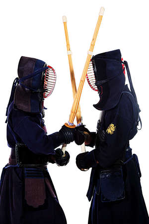 kendo: Two kendo fighters are fighting with each other  Asian martial arts