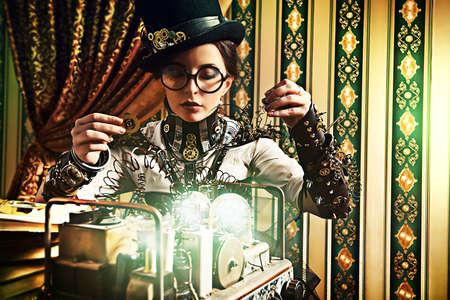 stile: Ritratto di una bella donna steampunk su sfondo vintage.