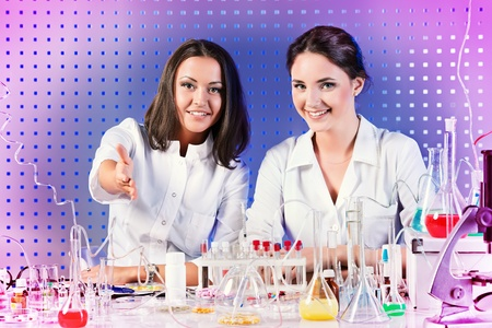 willingness: Laboratory staff, demonstrating a willingness to cooperate. Laboratory equipment. Stock Photo