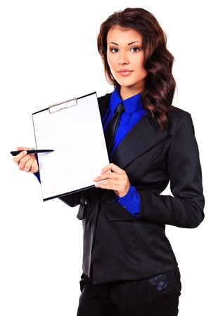 demonstrate: Portrait of a business woman on a presentation. Isolated over white. Stock Photo