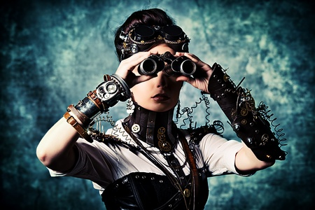 Portrait of a beautiful steampunk woman looking through the binoculars over grunge background. Stock Photo