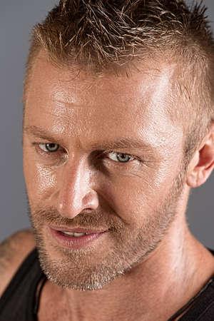 Close-up portrait of a handsome mature man. photo