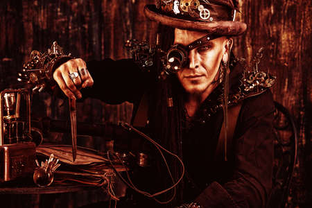 Portrait of a steampunk man over grunge background. photo