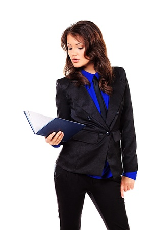 executive affable: Portrait of a smiling business woman with a diary. Isolated over white. Stock Photo