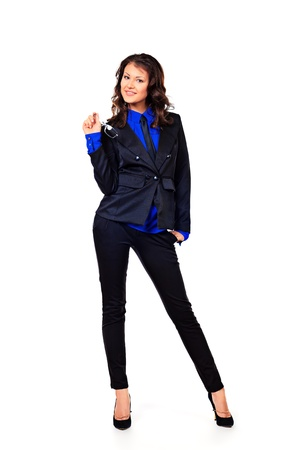 executive affable: Full length portrait of a confident business woman. Isolated over white.