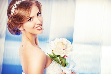 Portrait of a beautiful bride, sweet and sensual.  Stock Photo - 21774319