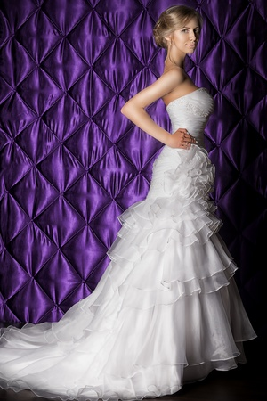 Full length portrait of a beautiful charming bride in a luxurious dress.  Stock Photo - 21774327