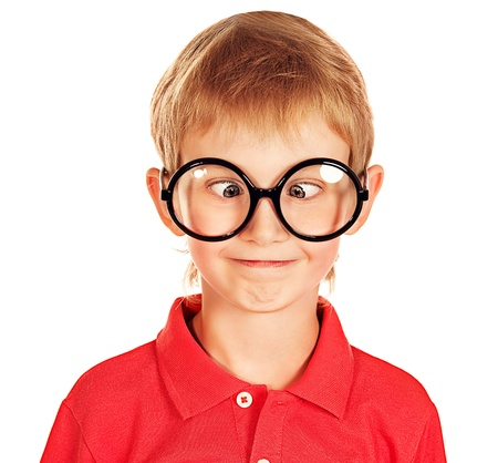 making a face: Portrait of a funny boy in spectacles. Isolated over white. Stock Photo