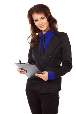 Portrait of a business woman on a presentation. Isolated over white. Stock Photo
