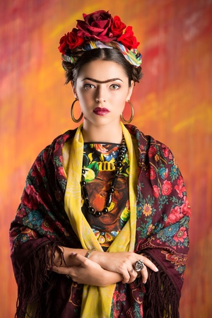 mexican woman: Portrait of a beautiful aristocratic woman in historic dress.