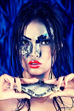 adult mermaid: Portrait of an asian model with fantasy make-up.  Stock Photo