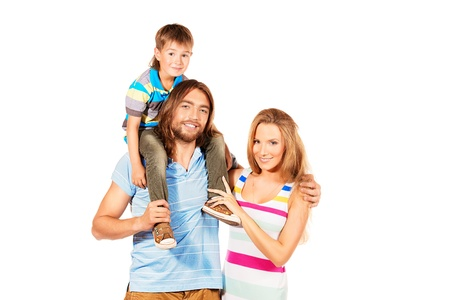 Portrait of a happy family. Father, mother and son. Isolated over white. Stock Photo - 22010091
