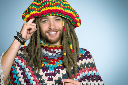 dreadlock: Portrait of a rastafarian young man.