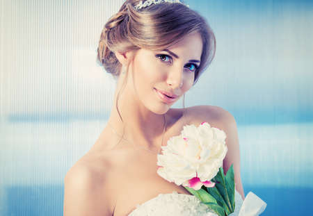 beautiful bride: Portrait of a beautiful bride, sweet and sensual.  Stock Photo