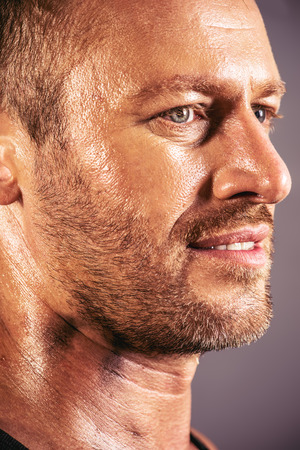 Close-up profile of a handsome mature man. photo