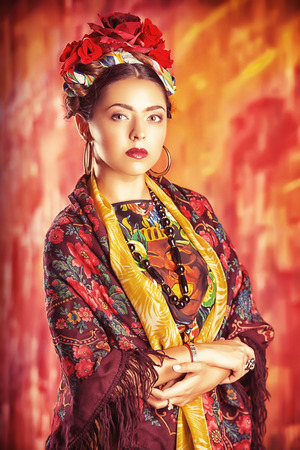 Portrait of a beautiful aristocratic woman in historic dress. photo