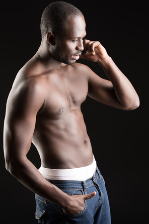 Handsome muscular african american man photo