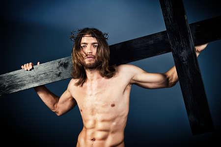 jesus on cross: Jesucristo el Nazareno llevando la cruz.