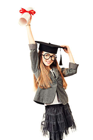 Schoolgirl successfully complete high school and receive a diploma. Isolated over white. Stock Photo