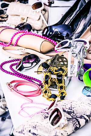 decorative accessories: Shop of fashion accessories and footwear. Stock Photo