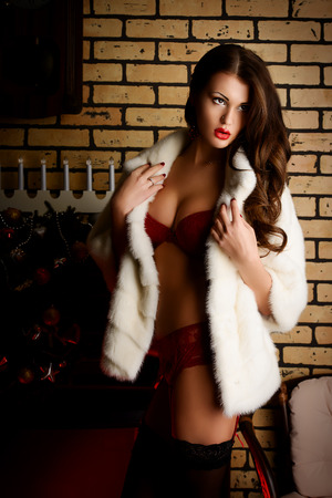 Beautiful young woman in in sexual red lingerie posing in Christmas decorations. photo