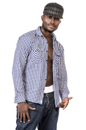 Portrait of an african american young man in casual clothes. Isolated over white. photo