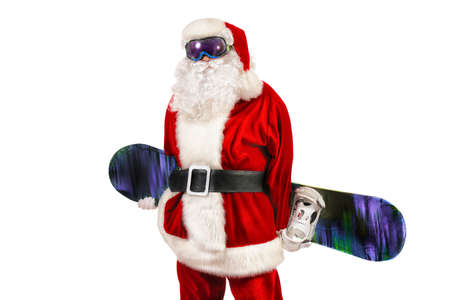 Santa Claus is standing in the ski mask and holding a snowboard. Christmas. Isolated over white. photo