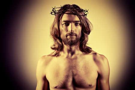 divine: Portret van Jezus Christus. Religie. Sepia. Stockfoto