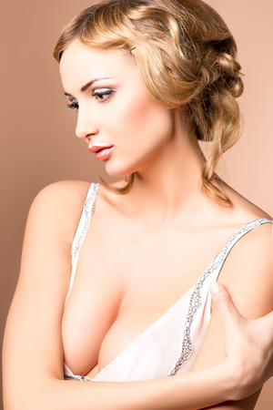 Portrait of a beautiful blonde woman. Body care. Spa. photo