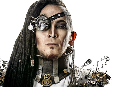 Portrait of a steampunk man. Isolated over white background. photo