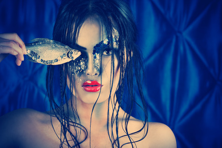 undine: Portrait of an asian model with fantasy make-up.  Stock Photo