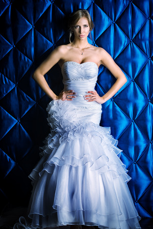 Full length portrait of a beautiful charming bride in a luxurious dress.  photo