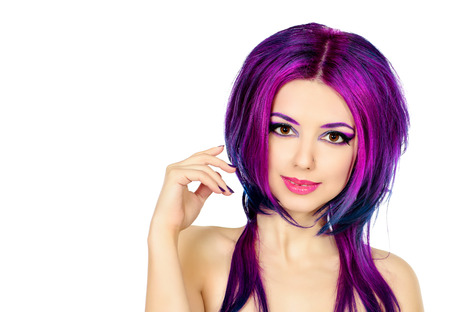 crimson: Beautiful young woman with bright crimson hair. Skin care. Hair coloring. Isolated over white.