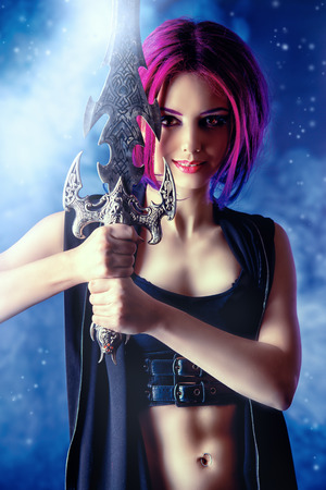warrior sword: Beautiful girl warrior with a sword standing in fighting stance. Anime. Fantasy. Stock Photo