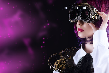 Girl in a stylized steampunk costume posing on a black background. Anime. photo