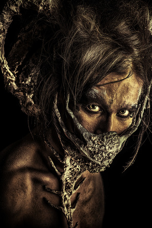 frightening: Frightening mythical creature male. Alien creature. Horror. Halloween.