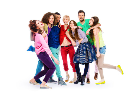 group of young adults: Large group of cheerful young people. Isolated over white.